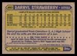 1987 Topps #460  Darryl Strawberry  Back Thumbnail