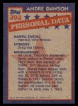 1984 Topps #392   -  Andre Dawson All-Star Back Thumbnail