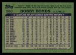 1982 Topps #580  Bobby Bonds  Back Thumbnail