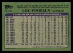 1982 Topps #538  Lou Piniella  Back Thumbnail
