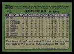 1982 Topps #27  Tom Herr  Back Thumbnail