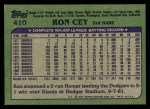 1982 Topps #410  Ron Cey  Back Thumbnail