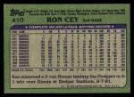 1982 Topps #410  Ron Cey  Back Thumbnail