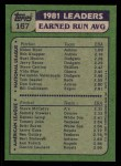1982 Topps #167   -  Steve McCatty / Nolan Ryan ERA Leaders Back Thumbnail