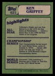 1982 Topps #621   -  Ken Griffey In Action Back Thumbnail