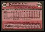 1989 Topps #650  Kirby Puckett  Back Thumbnail