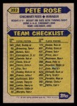 1987 Topps #393  Pete Rose  Back Thumbnail