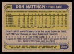 1987 Topps #500  Don Mattingly  Back Thumbnail