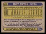 1987 Topps #530  Tony Gwynn  Back Thumbnail