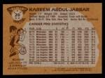 1981 Topps #20  Kareem Abdul-Jabbar  Back Thumbnail