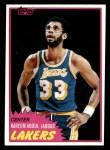 1981 Topps #20  Kareem Abdul-Jabbar  Front Thumbnail