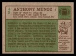 1984 Topps #45  Anthony Munoz  Back Thumbnail