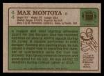 1984 Topps #44  Max Montoya  Back Thumbnail