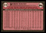 1989 Topps #615  Robin Yount  Back Thumbnail