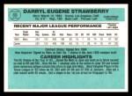 1984 Donruss #68  Darryl Strawberry  Back Thumbnail