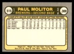 1981 Fleer #515  Paul Molitor  Back Thumbnail