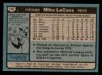 1980 Topps #199  Mike LaCoss  Back Thumbnail