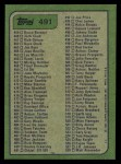 1982 Topps #491   Checklist Back Thumbnail