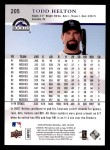 2008 Upper Deck First Edition #205  Todd Helton  Back Thumbnail