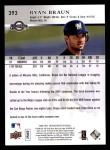 2008 Upper Deck First Edition #393  Ryan Braun  Back Thumbnail