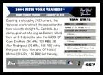 2005 Topps #657   New York Yankees Team Back Thumbnail