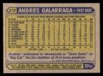 1987 Topps #272  Andres Galarraga  Back Thumbnail