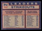 1984 Topps #707   -  Tom Seaver / Steve Carlton / Nolan Ryan NL Active Career Strikout Leaders Back Thumbnail