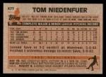 1983 Topps #477  Tom Niedenfuer  Back Thumbnail