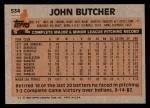 1983 Topps #534  John Butcher  Back Thumbnail