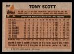 1983 Topps #507  Tony Scott  Back Thumbnail