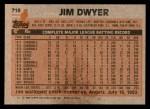 1983 Topps #718  Jim Dwyer  Back Thumbnail
