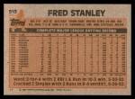 1983 Topps #513  Fred Stanley  Back Thumbnail
