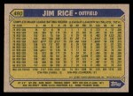 1987 Topps #480  Jim Rice  Back Thumbnail