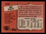 1987 Topps #362  Jim Kelly  Back Thumbnail