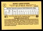 1987 Donruss #361  Barry Bonds  Back Thumbnail