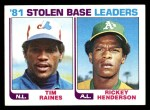 1982 Topps #164   -  Tim Raines / Rickey Henderson SB Leaders   Front Thumbnail