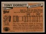 1981 Topps #500  Tony Dorsett  Back Thumbnail