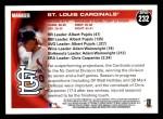 2010 Topps #232   Cardinals Team Back Thumbnail