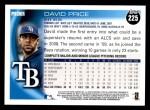 2010 Topps #225  David Price  Back Thumbnail