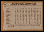 1981 Topps #47   Cavaliers Leaders Back Thumbnail