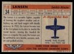 1957 Topps Planes #34 RED  Lansen Back Thumbnail