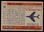 1957 Topps Planes #89 RED  F86-D Sabre Back Thumbnail