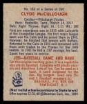 1949 Bowman #163  Clyde McCullough  Back Thumbnail
