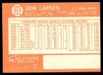 1964 Topps #513  Don Larsen  Back Thumbnail