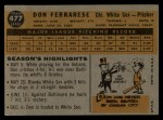 1960 Topps #477  Don Ferrarese  Back Thumbnail