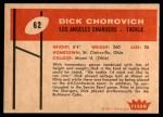1960 Fleer #62  Dick Chorovich  Back Thumbnail