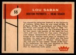 1960 Fleer #55  Lou Saban  Back Thumbnail