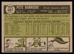 1961 Topps #507  Pete Burnside  Back Thumbnail