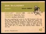 1961 Fleer #42  Don Mcllhenny  Back Thumbnail
