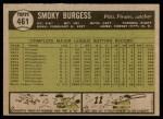 1961 Topps #461  Smoky Burgess  Back Thumbnail